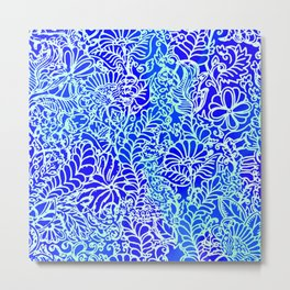 Jungle Garden, Blue Metal Print