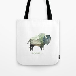 Buffalo Bison / Roam Wanderlust Adventure Travel / Rustic Woodland / Nursery / Gift / Watercolor Tote Bag