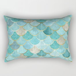 Moroccan Mermaid Fish Scale Pattern, Aqua,Teal Rectangular Pillow
