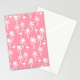 Tropical flamingo and palm trees pattern by andrea lauren cute illustration summer patterns pink Stationery Cards