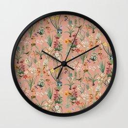 Garden of Dragonflies, Ochre Pink Wall Clock