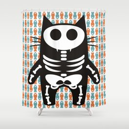 Meow Skeleton Shower Curtain
