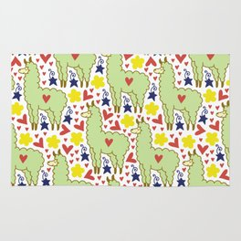Funny colorful sheep with hearts, stars and flowers pattern Rug