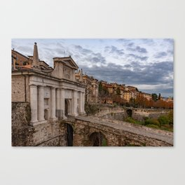 Side view of Porta San Giacomo and the walls of the upper city of Bergamo Canvas Print