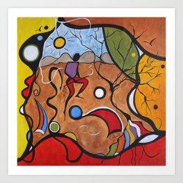 Crazy Rain Dance Colorful Art Print