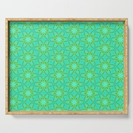 Teal and Green Star Flower Serving Tray