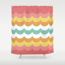 Scalloped Stripes Shower Curtain