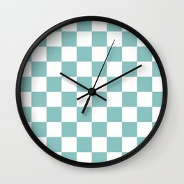 Chalky Blue Checkers Pattern Wall Clock