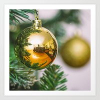 Christmas tree decorated with golden balls Art Print