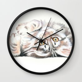 Cute Maine Coon Kitten Playing Wall Clock