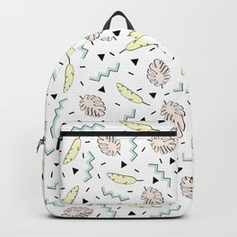 Back to the Tropical 80's Memphis Pastel Mint Green, Pink, Yellow Pattern Backpack