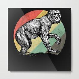 Retro Monkey Metal Print