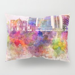 Fort Worth skyline in watercolor background Pillow Sham