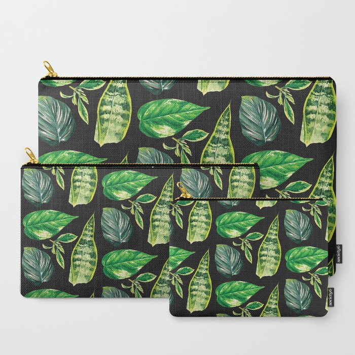 Watercolor_Leaf_Study_on_Black_CarryAll_Pouch_by_Liz_Clayton_Fuller__Set_of_3