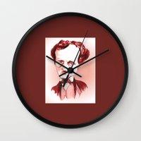 edgar allan poe Wall Clocks featuring Edgar Allan Poe by Diego Abelenda