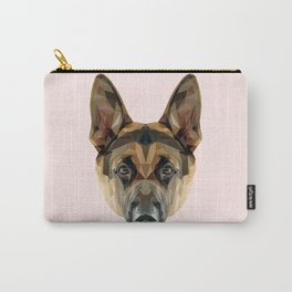 German Shepherd // Pastel Pink Carry-All Pouch