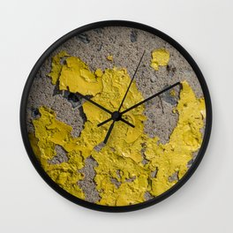 Yellow Peeling Paint on Concrete 2 Wall Clock