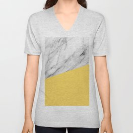 Marble and Primrose Yellow Color Unisex V-Neck