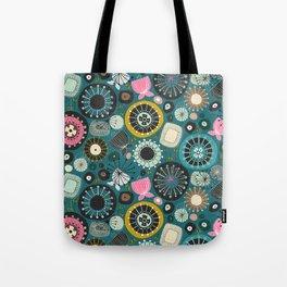 blooms teal Tote Bag