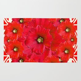 AWESOME RED FLOWERS BOUQUET PATTERN ABSTRACT ART Rug
