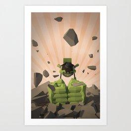 Green-Bot Smash Art Print