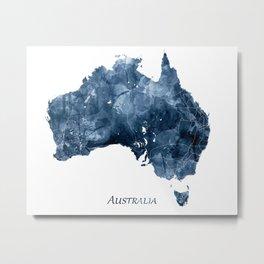 Australia Map Navy Blue Watercolor Art by Zouzounio Art Metal Print