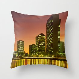Lake Merritt and Downtown Oakland in Golden Sunset Throw Pillow