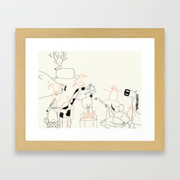 Animales everywhere Framed Art Print
