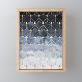 Blue Hexagons And Diamonds Framed Mini Art Print
