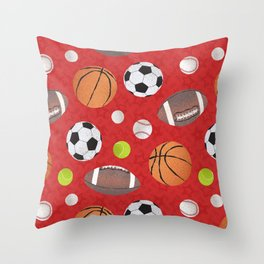 Sports Balls Pattern - Red Throw Pillow
