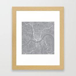 Cincinnati Map, Ohio USA - Pewter Framed Art Print