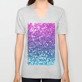 Bright Blue Purple Glitters Sparkling Pretty Chic Bling Background Unisex V-Neck