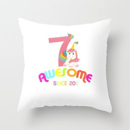 Awesome Since 2011 Unicorn 7th Birthday Anniversaries Throw Pillow