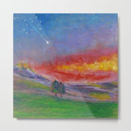 Together under shooting stars. Oil pastel. Metal Print