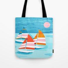 Popin - memphis sports retro throwback neon sailing sailboat cool rad gnarly trendy watersports Tote Bag