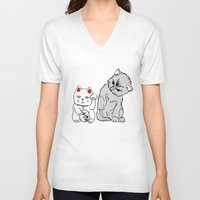 kittens V-neck T-shirts featuring Kittens by Larice Barbosa