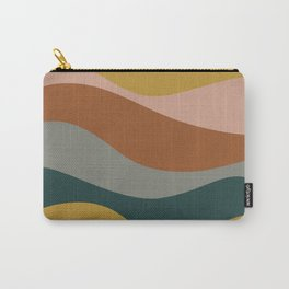 Retro Waves Minimalist Pattern 2 in Rust, Blush Pink, Gray, Navy Blue, and Mustard Gold Carry-All Pouch