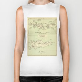 Vintage Map of The Virgin Islands (1853) Biker Tank