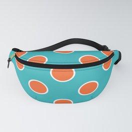 Geometric Orbital Candy Dot Circles - Citrus Orange & Peppermint Blue Fanny Pack