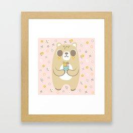 Cute Bear Holding a Plant Framed Art Print