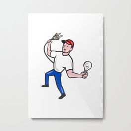 Electrician Hold Electric Plug and Bulb Cartoon Metal Print