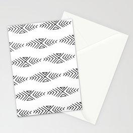 mudcloth 11 minimal textured black and white pattern home decor minimalist beach Stationery Cards