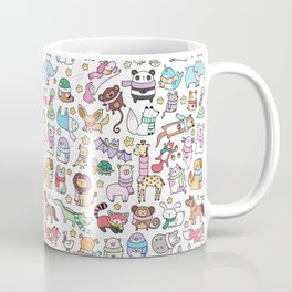 Winter Animals with Scarves Doodle Coffee Mug