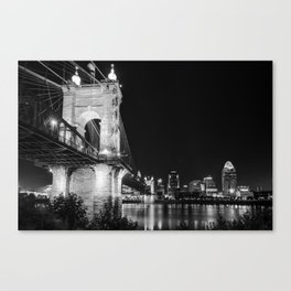 Roebling Bridge and Cincinnati Skyline at Night - Black and White Canvas Print
