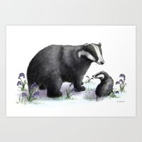 badger Art Prints featuring Badger by SteveStanleyArt