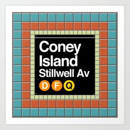 subway coney island sign Art Print