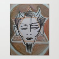 satan Canvas Prints featuring HA SATAN by Kathead Tarot/David Rivera
