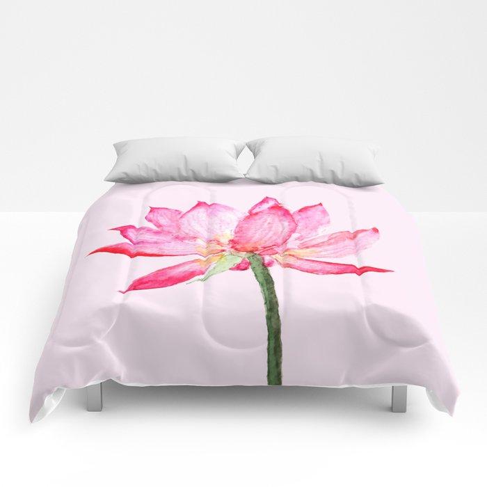 pink lotus flower Comforters