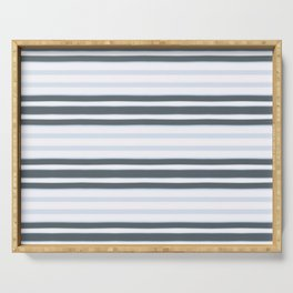 Light Baby Blue and white grey stripes Serving Tray