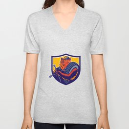 Bear Tireman Crest Unisex V-Neck